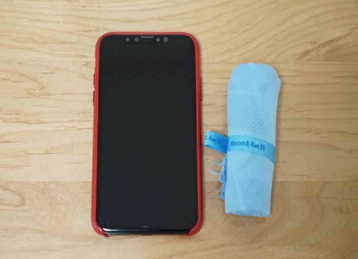 モンベル mont-bellのマイクロフェイスタオルとiPhone X