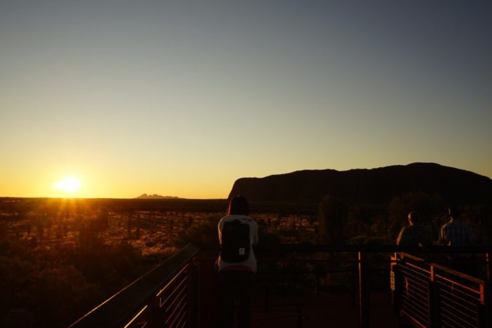 uluru sunset at sunrise viewing area