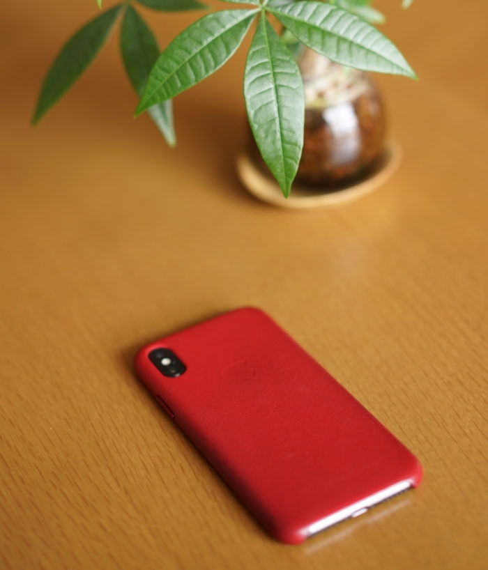 iPhone X 純正レザーケース product red 裏