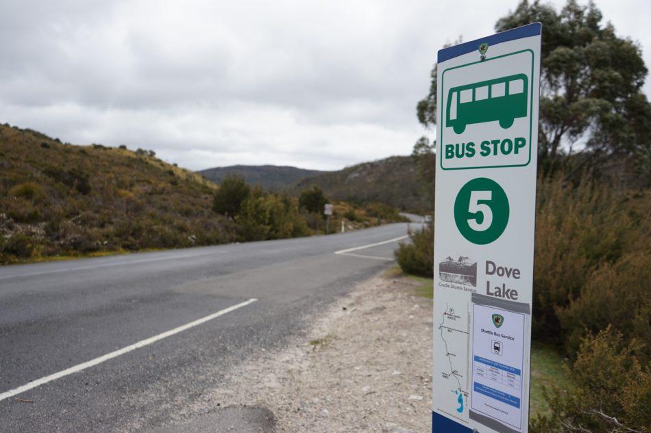 クレイドルマウンテンのバス停