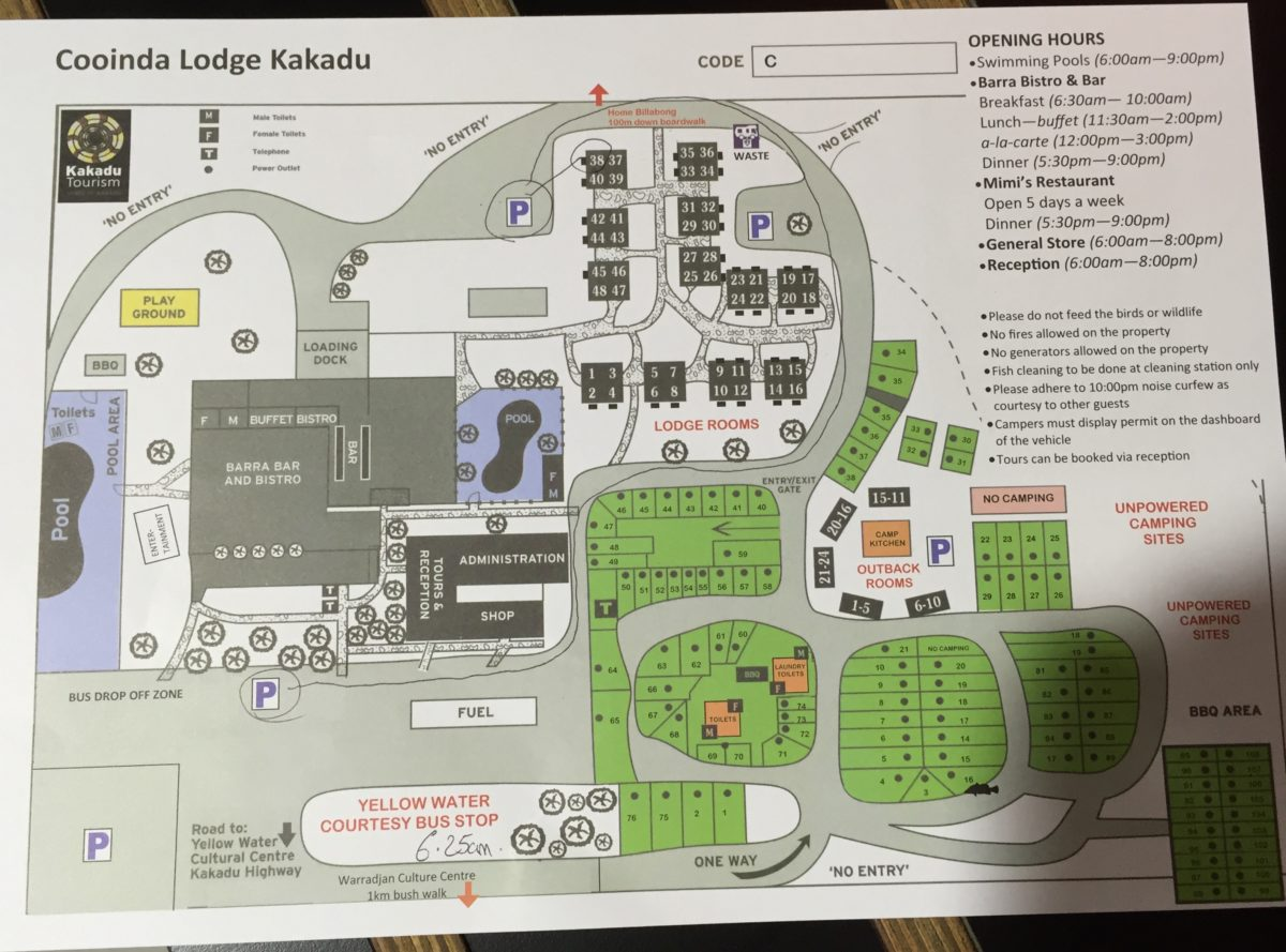 Cooinda Lodge Kakadu Map