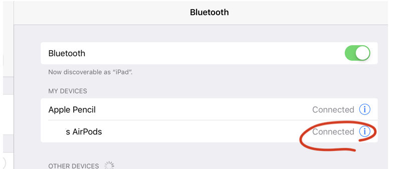 IpadでAirpodsを設定する