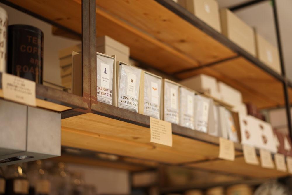 テラコーヒー コーヒー豆の棚