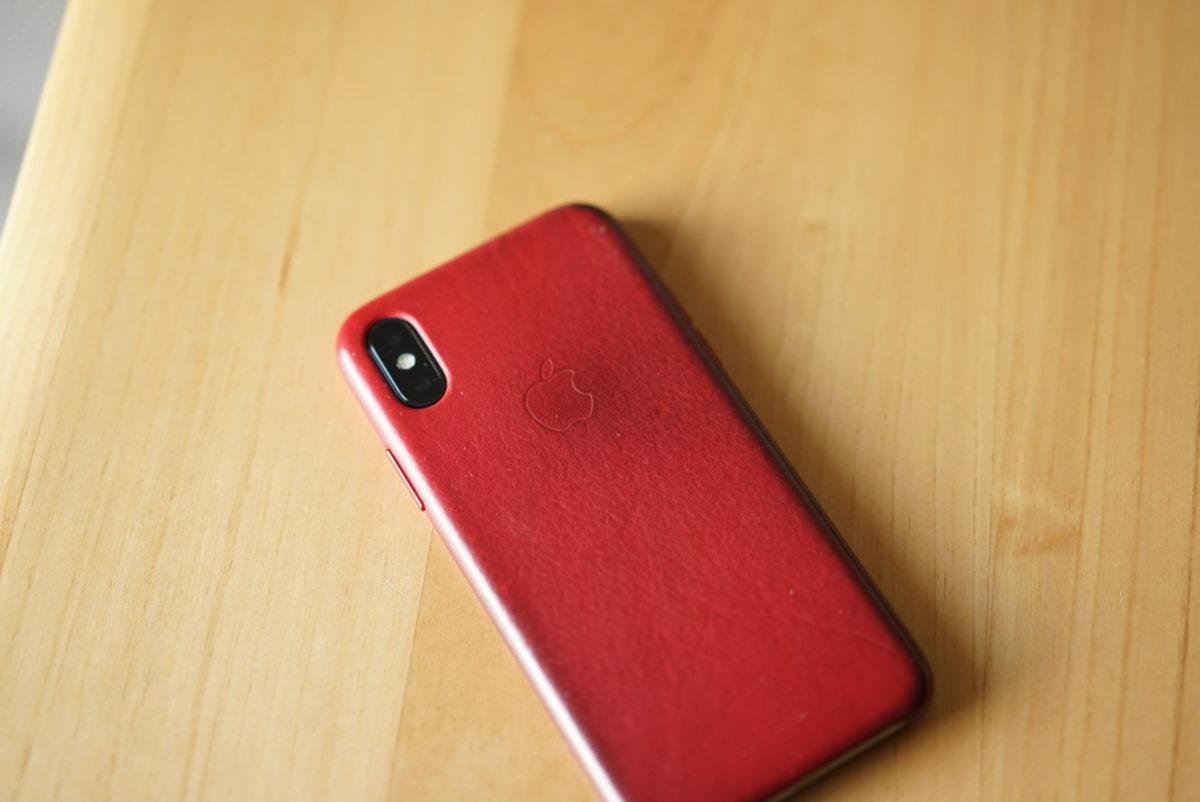 IPhone X 純正レザーケース 赤 red 2年目