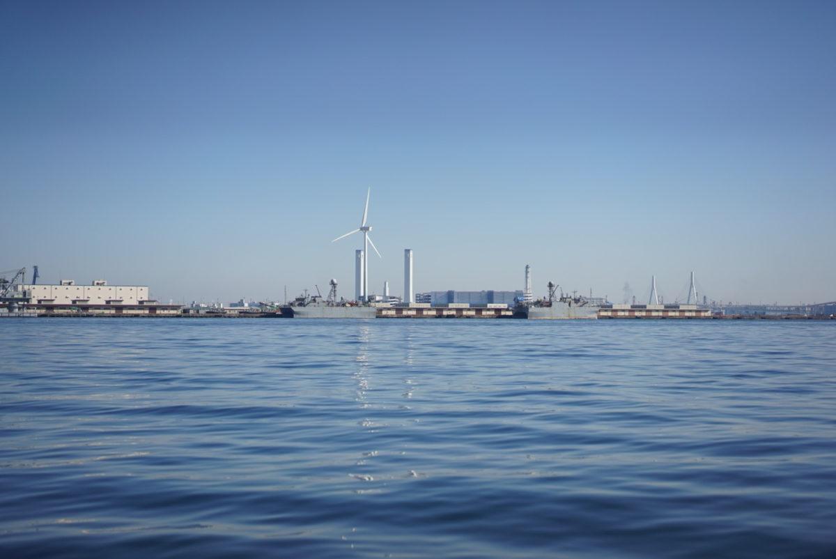 横浜 風力発電 海 シーバスから