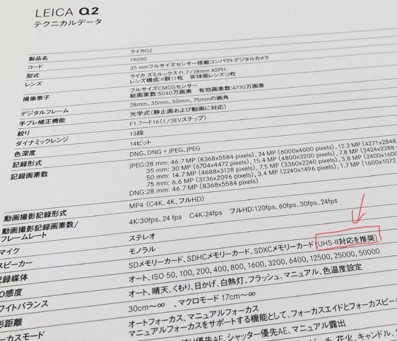 Leica Q2 パンフレットカード