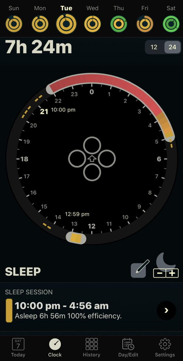 IPhone上でみる睡眠時間の記録 auto sleep