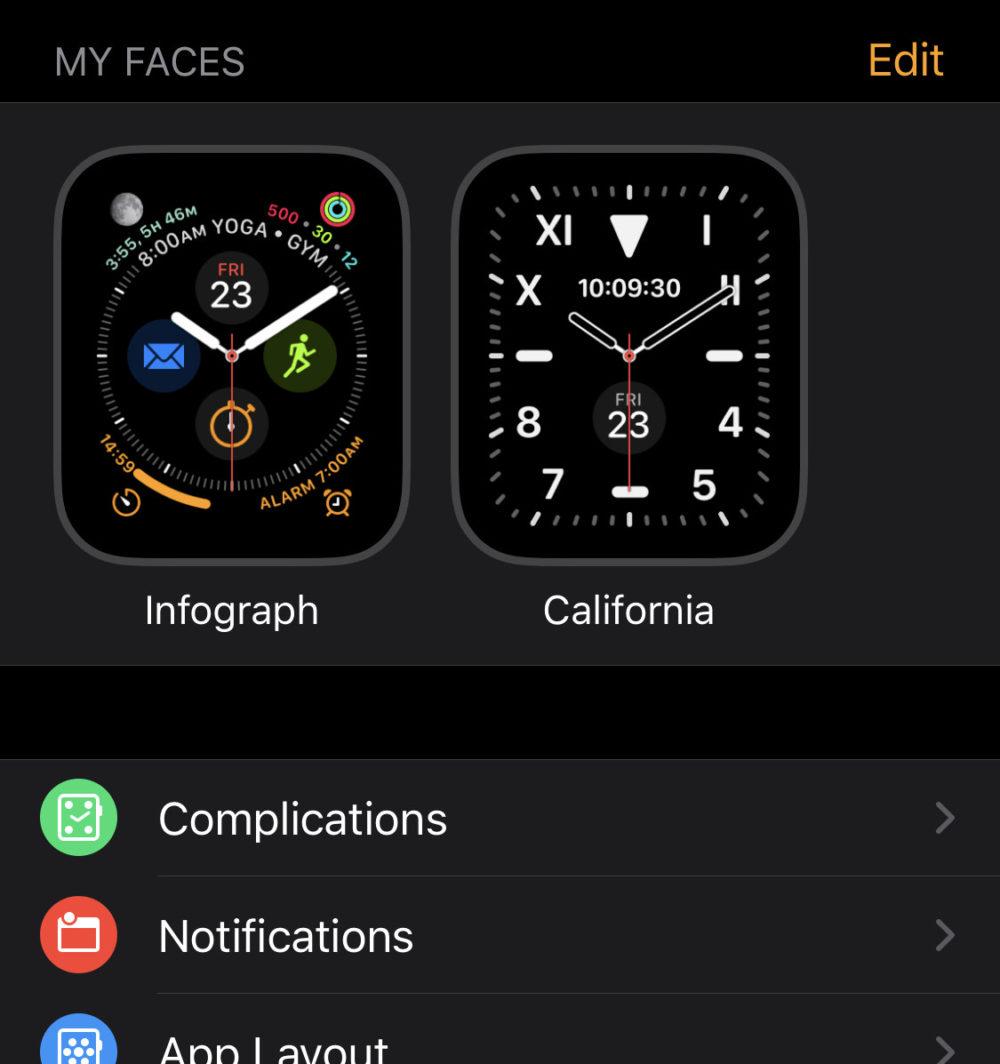文字盤設定 Apple Watch on iPhone