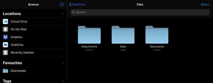 ファイルアプリでOnedriveを。