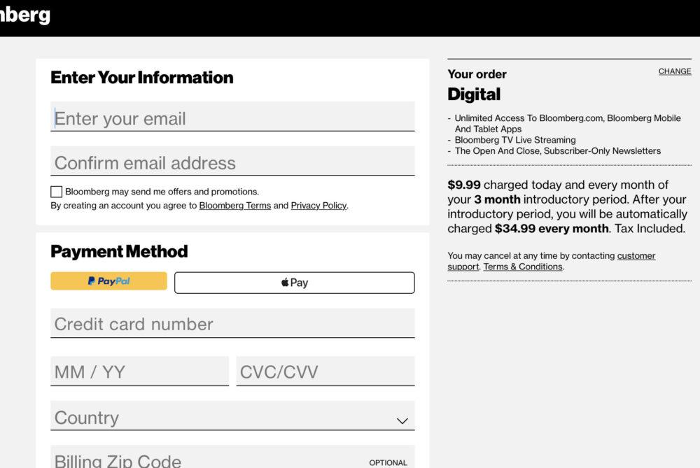 Bloomberg digital 購読 登録画面