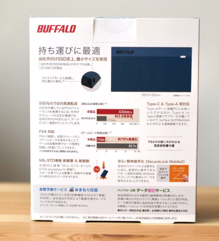 Buffalo ssd minimum 箱 裏2 PSM250U3