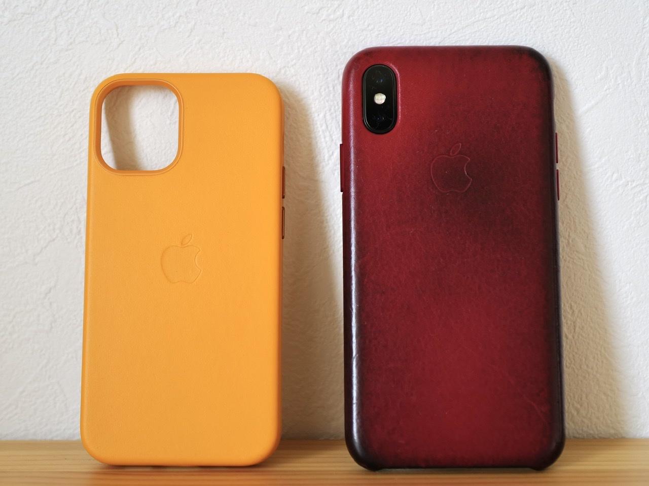 iphone 12 mini 純正レザーケースとXの比較