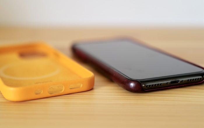 iphone 12 mini とXのレザーケース