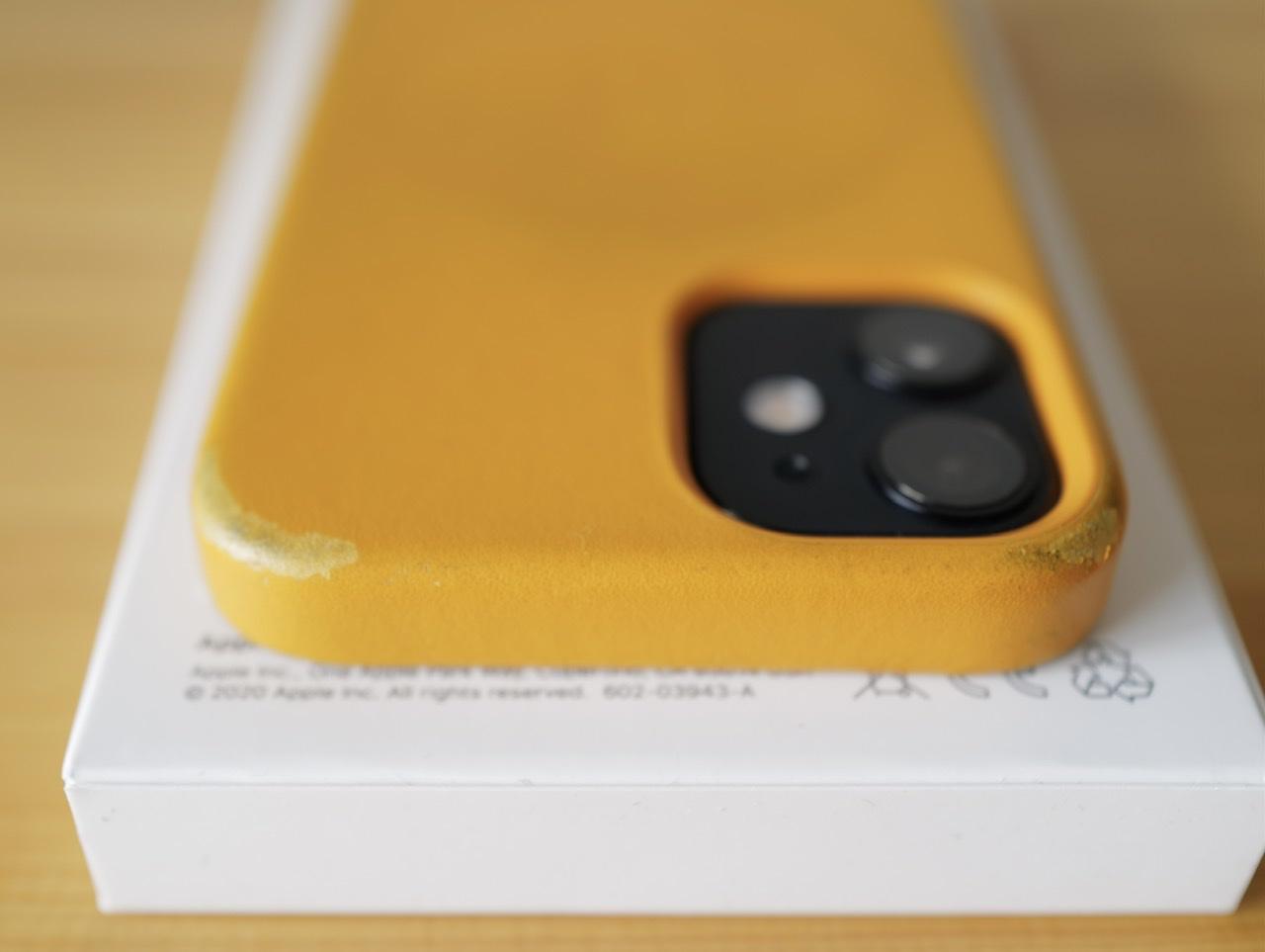 8ヶ月 iPhone 12 mini 純正レザーケース ダメージ 角